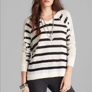 We The Free Fluffy Lou Striped Crochet Sleeve Top